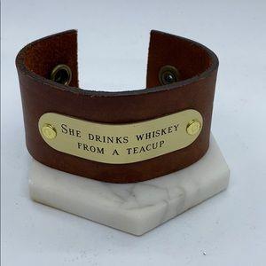 Leather Bracelet Cuff She Drinks Whiskey